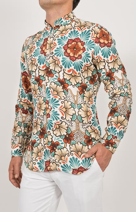 Camicia fantasia in puro lino